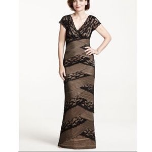 Marina Long Beaded Stretch Lace Dress Cap size 10